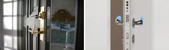 Maniglia classica in acciaio e maniglia moderna illuminata.