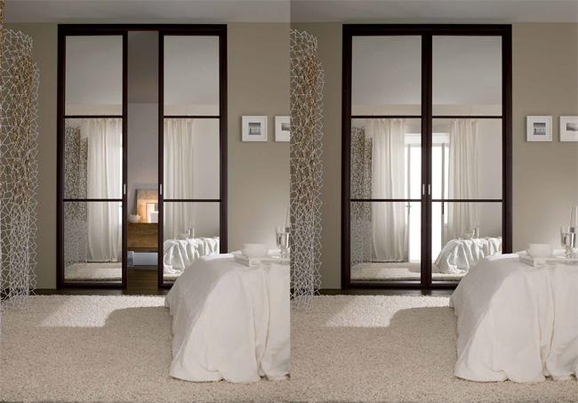 Porta Tonincasa a specchio, scorrevole, a scomparsa con bordi in legno