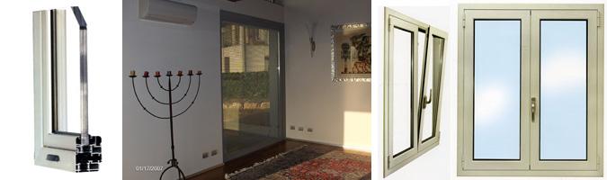 Serramenti con telai in alluminio: finestre, portefinestre, persiane